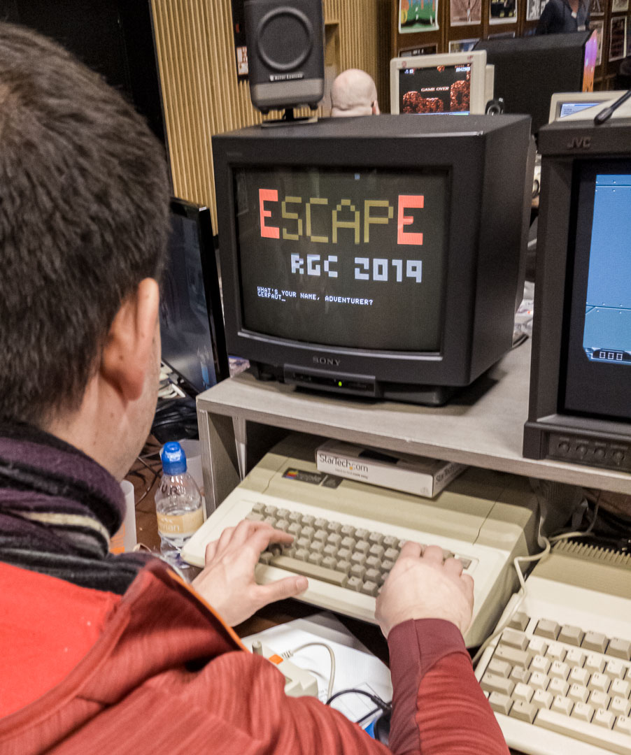 "My Apple II running ""Escape"", my rogue-like"